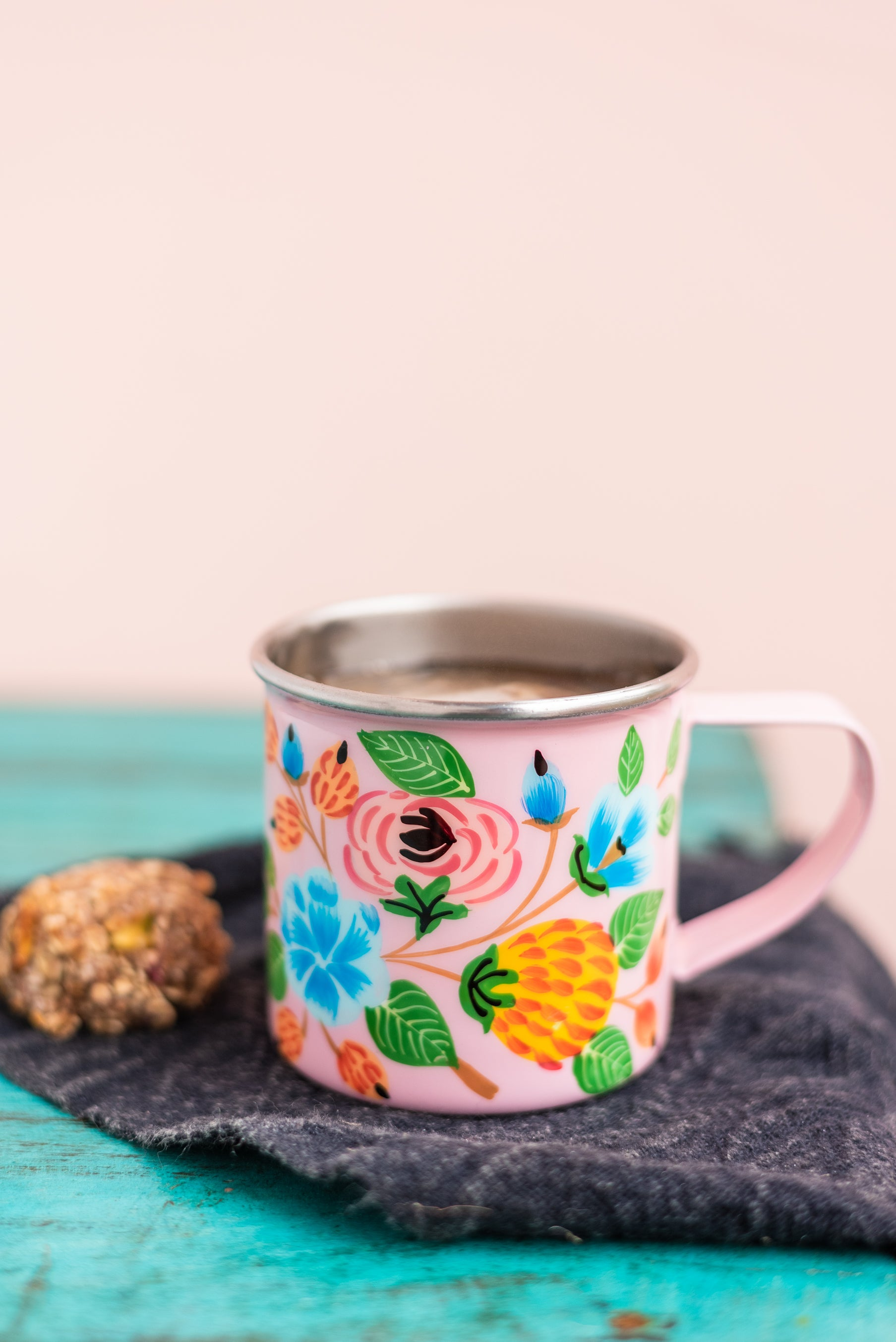 Pink Hand Painted Floral Mug