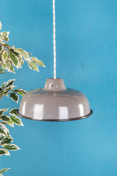 Grey Medium Enamel Lampshade