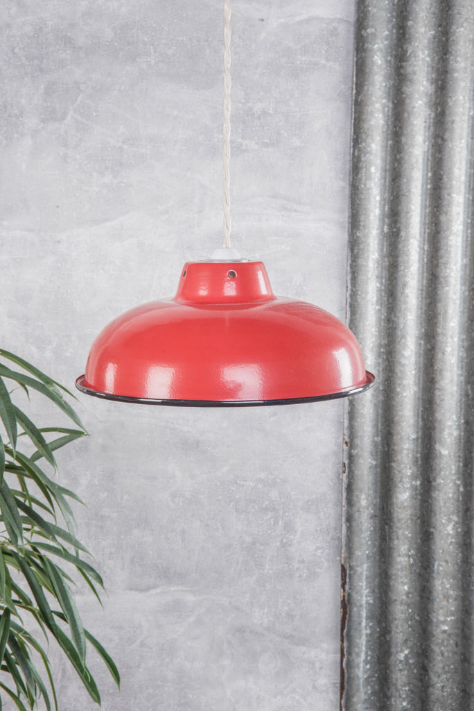 Red Medium Enamel Lampshade