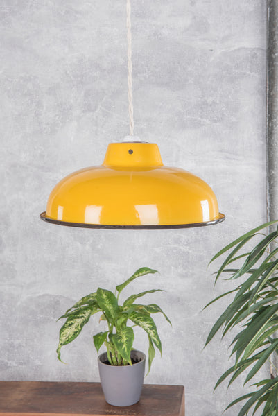 Yellow Medium Enamel Lampshade