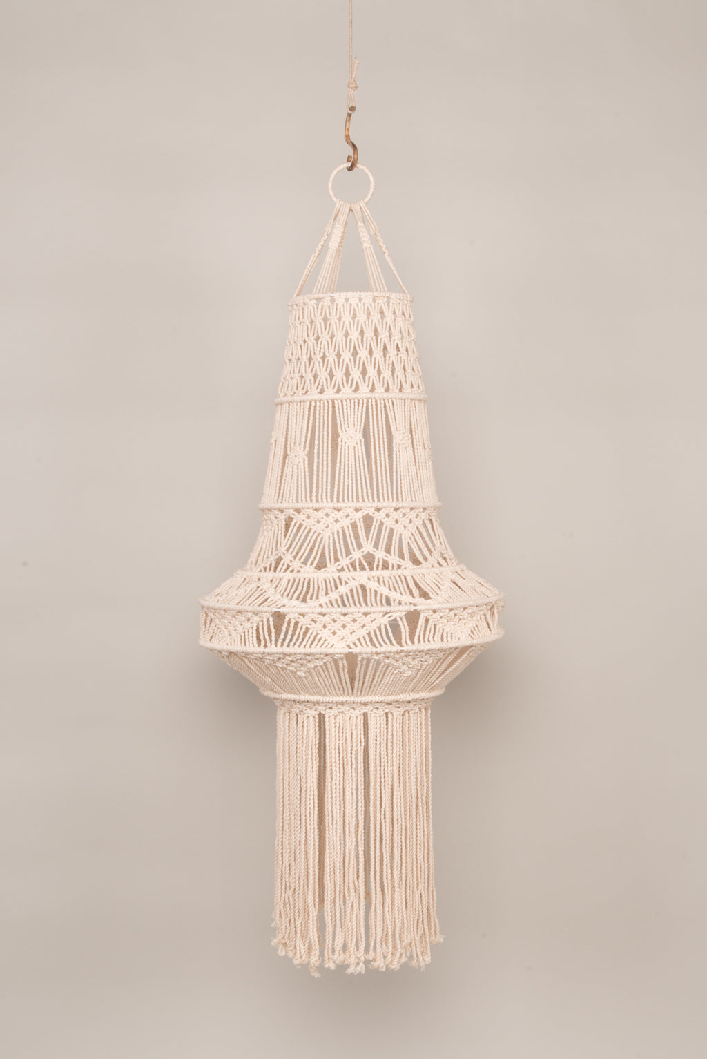 Large Natural Macrame Lampshade