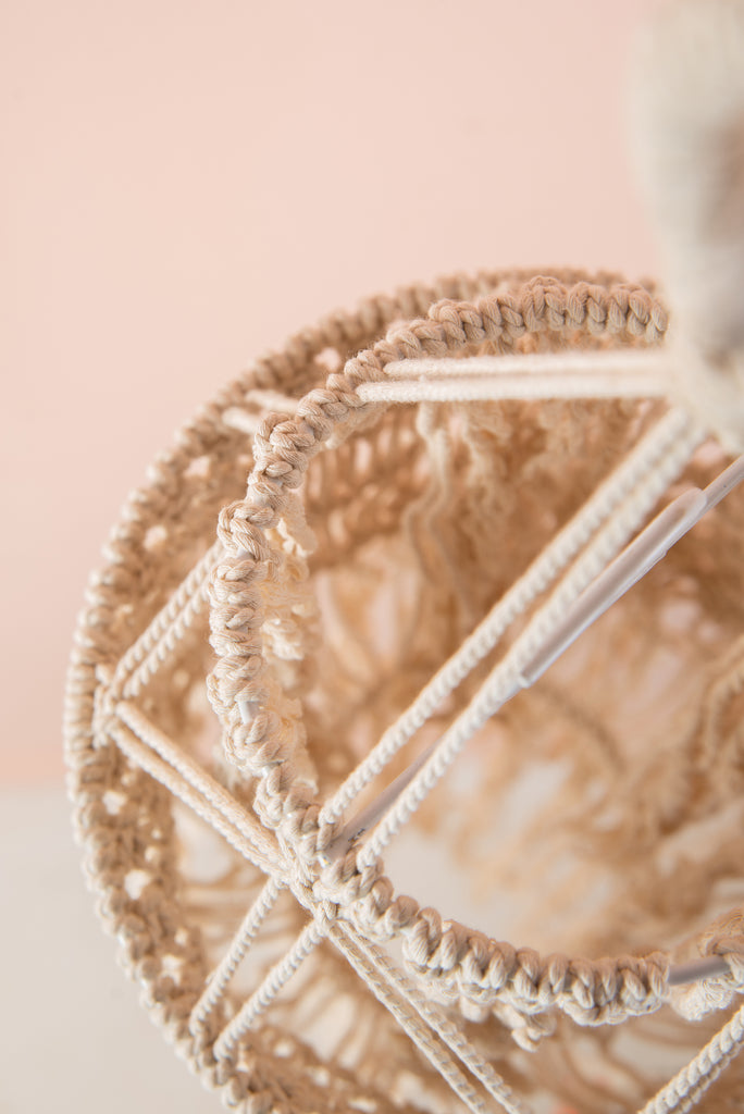 Double Drum Natural Macrame Lampshade