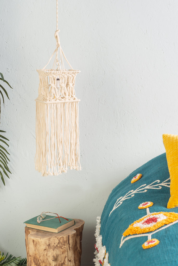 Square Natural Macrame Lampshade