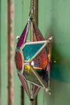 Multi Coloured Iron & Glass Hanging Star Lantern