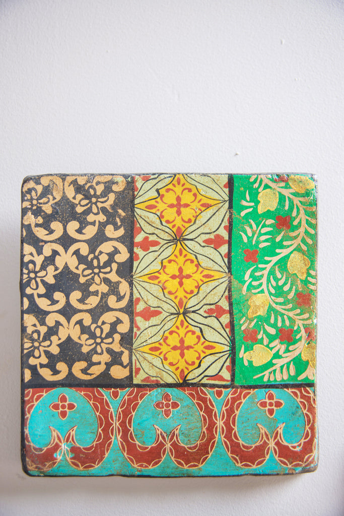 Set of 4 Hand-Painted Terracotta Tiles
