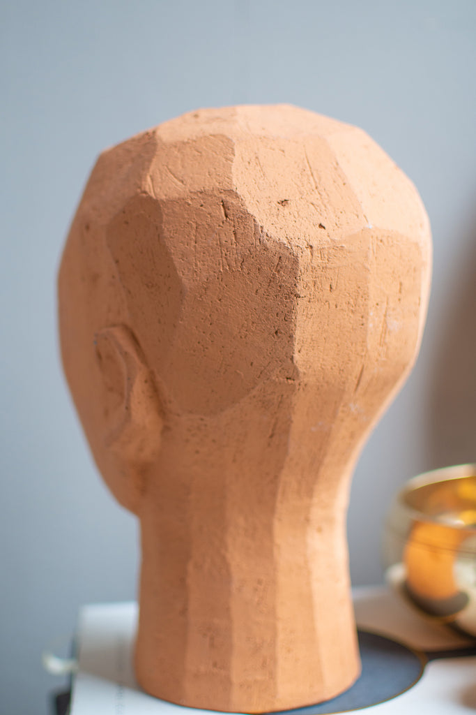Decorative Head in Bare Terracotta