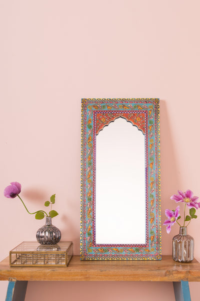 Highly Decorative Arched Wooden Mirror with Mehandi Work