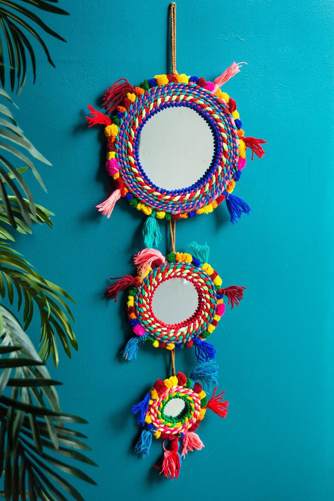 Triple Hanging Tassel and Pom Pom Mirror