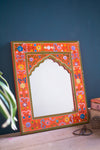 Orange Hand Painted Arched Wooden Mirror