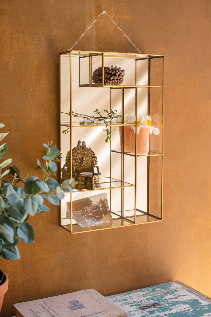 Glass and Brass Mirror Backed Wall Shelf