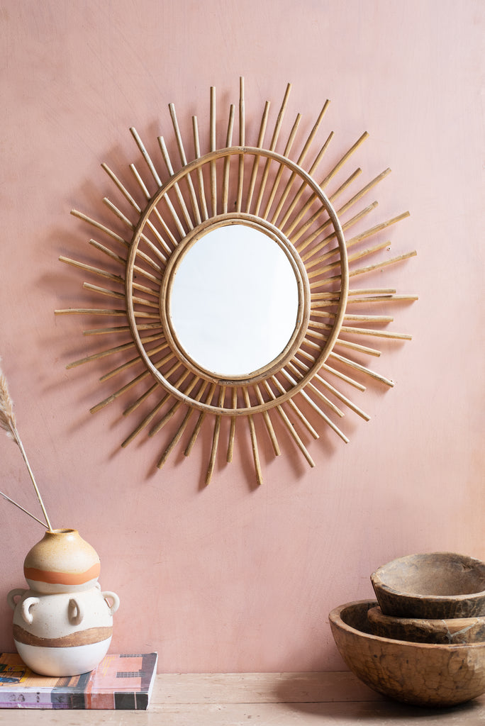 Imperfect Cane Sun Wall Mirror
