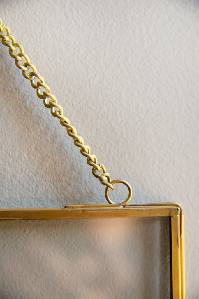 Hanging Glass & Metal Photo Frame With Brass Finish (417039395)