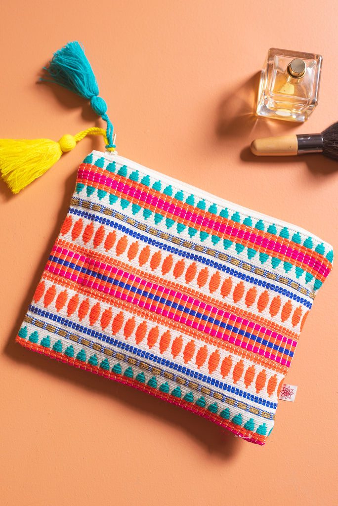 Neon Cotton Purse with Pompoms