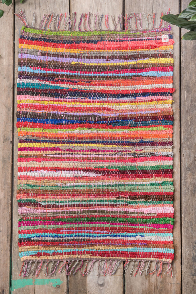 Recycled Small Multi-Coloured Rag Rug