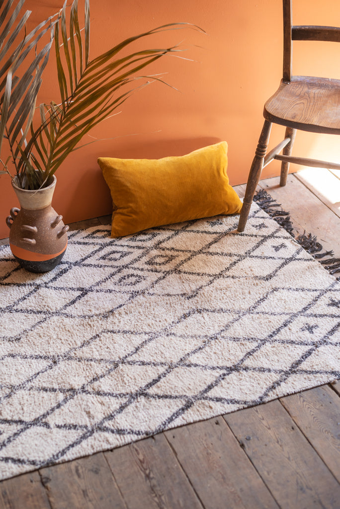 Hygge 100% Recycled Cotton Diamond Design Rug