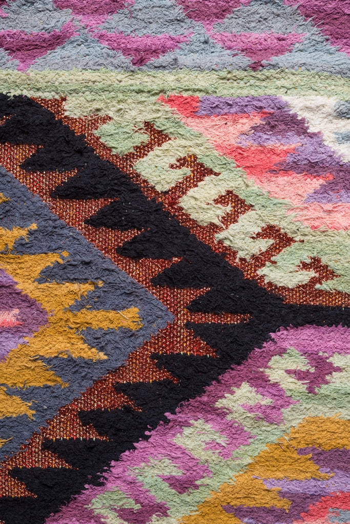 Azami Multi Coloured Cotton Kilim Rug with Copper Lurex