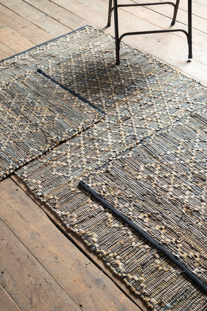 Recycled Leather Diamond Weave Rug - Three Sizes