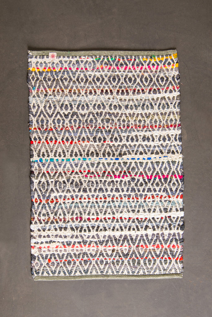 Grey Upcycled Handloom Rug Made From Old Satin Coat Linings