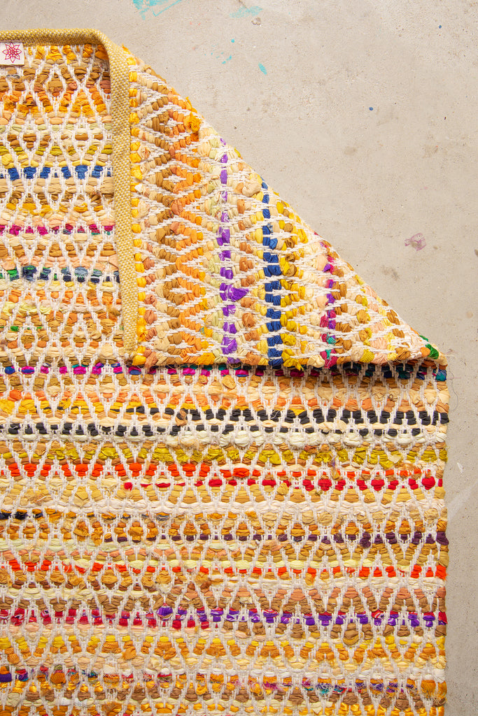 Yellow Upcycled Handloom Rug Made From Old Satin Coat Linings