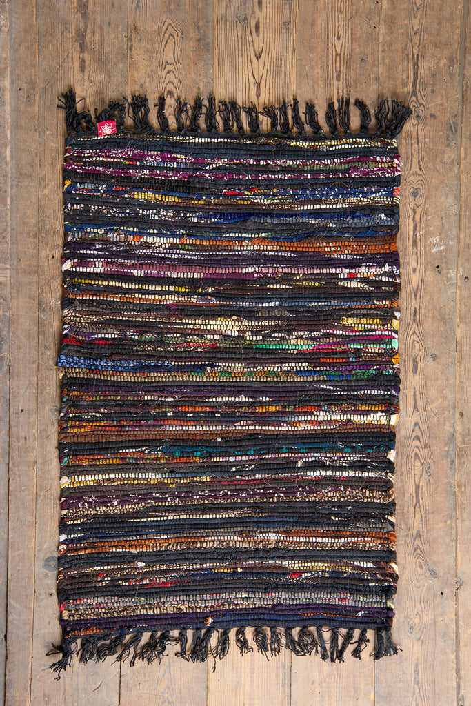 Upcycled Black Chindi Rug