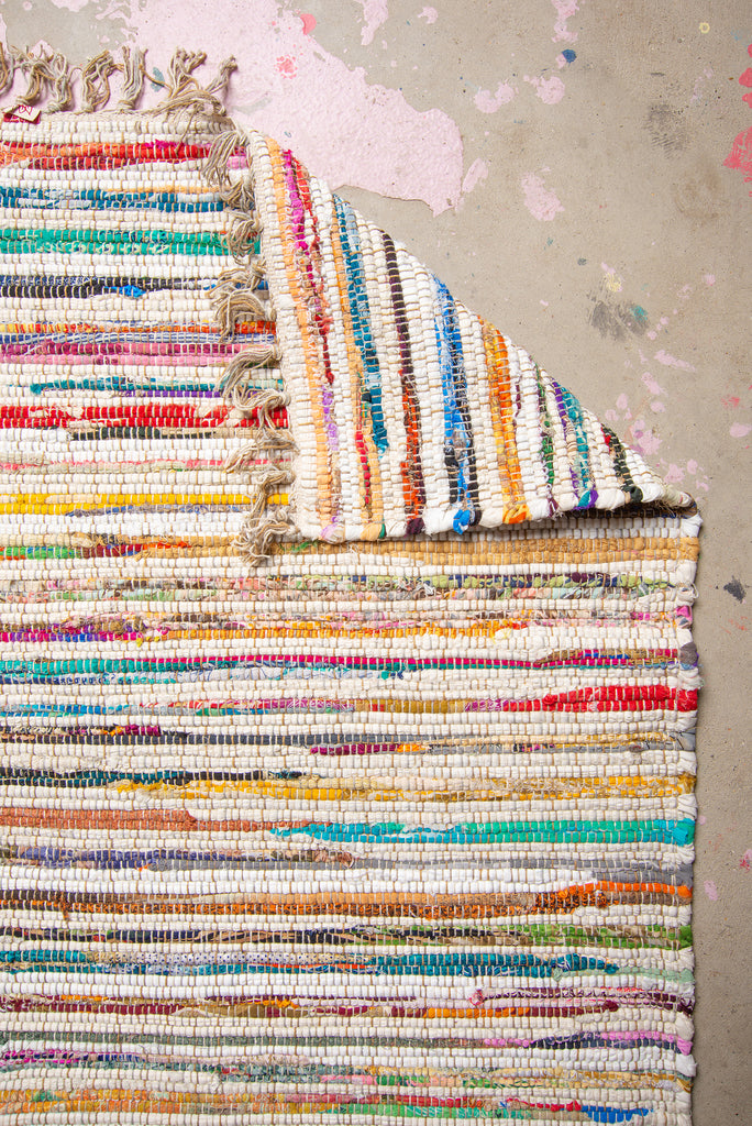 Upcycled White Chindi Rug