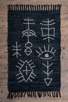 Black 100% Recycled Cotton Leather Rug