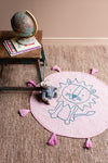 Pink Lion 100% Recycled Cotton Baby Rug with Tassels