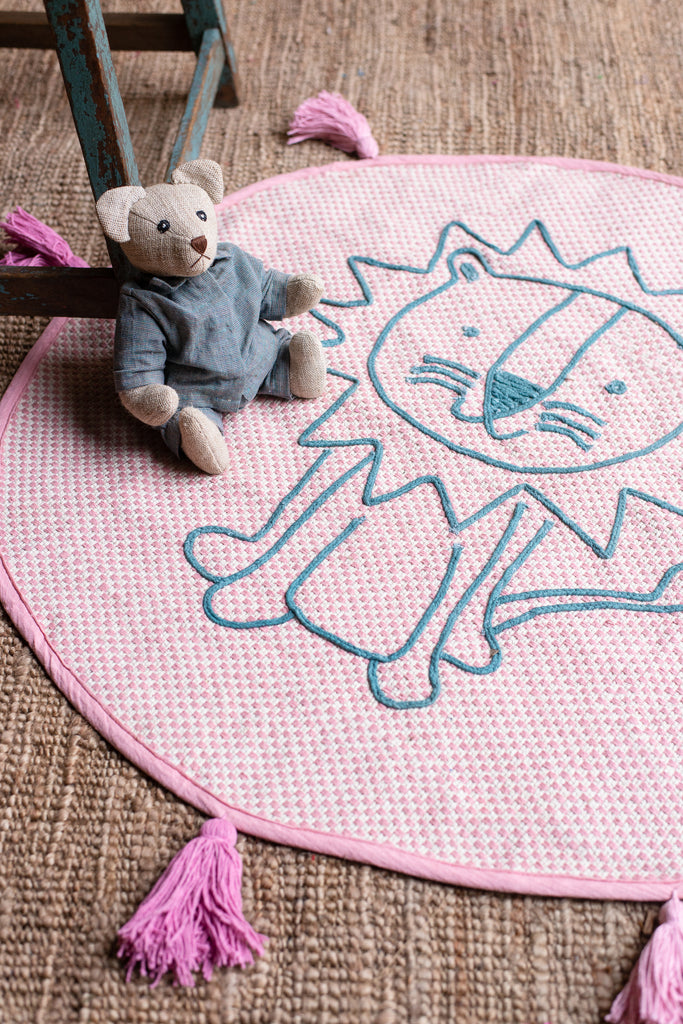 Pink Lion Baby Rug with Tassels