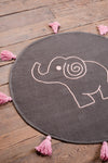 Charcoal Elephant 100% Recycled Cotton Baby Rug with Tassels