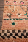 Vintage Peach and Emerald Boujad Rug circa 1980-1985