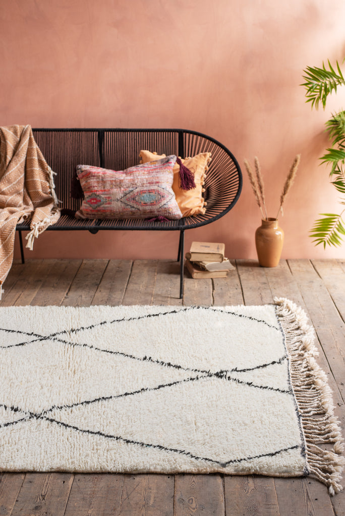 Beni Ourain 100% Wool Rug with large triangles - Medium