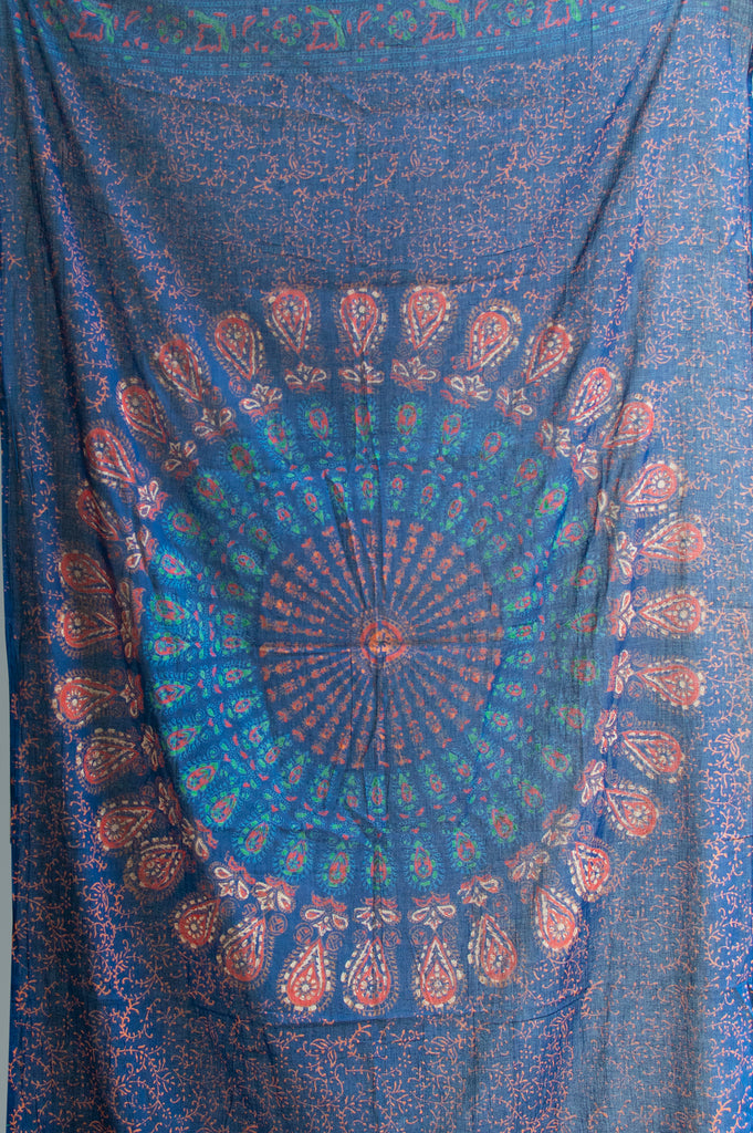 Blue Mandala Cotton Scarf