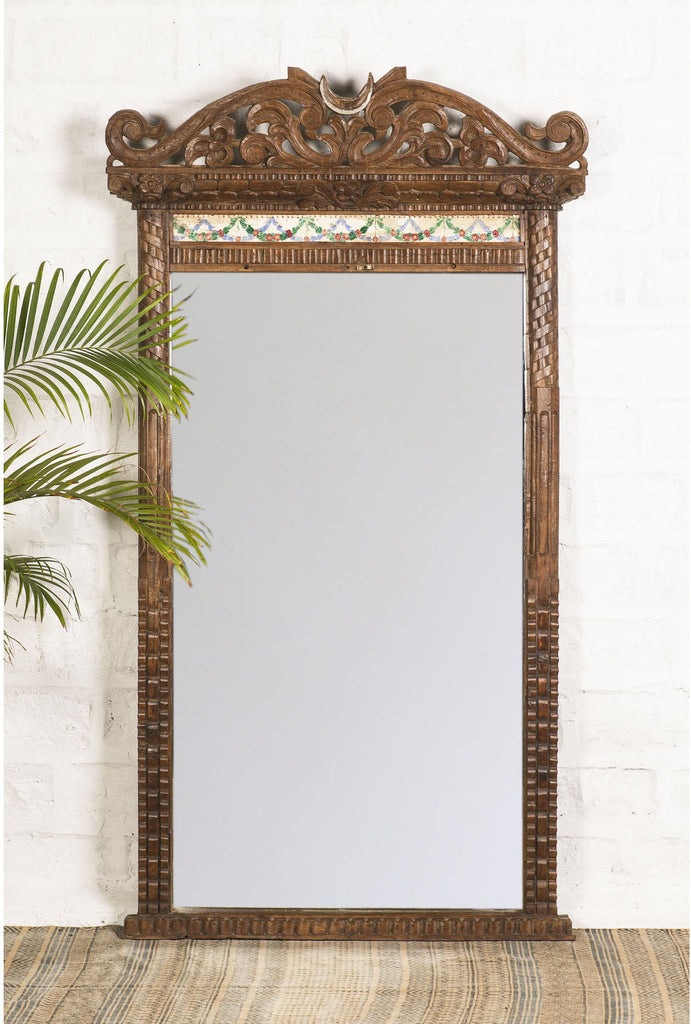 Carved Mirror with Tiles