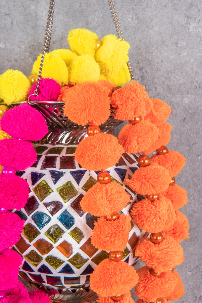 Neon Hanging Pompom String with Bell