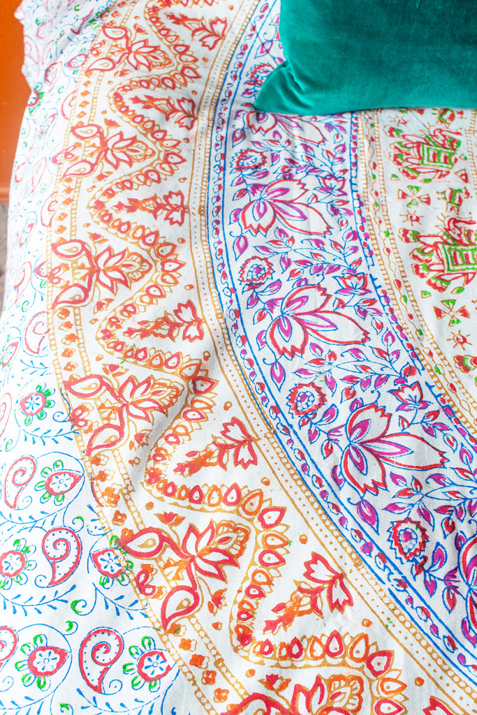 Sanganeri Circle Design Cotton Throw Natural/Multi