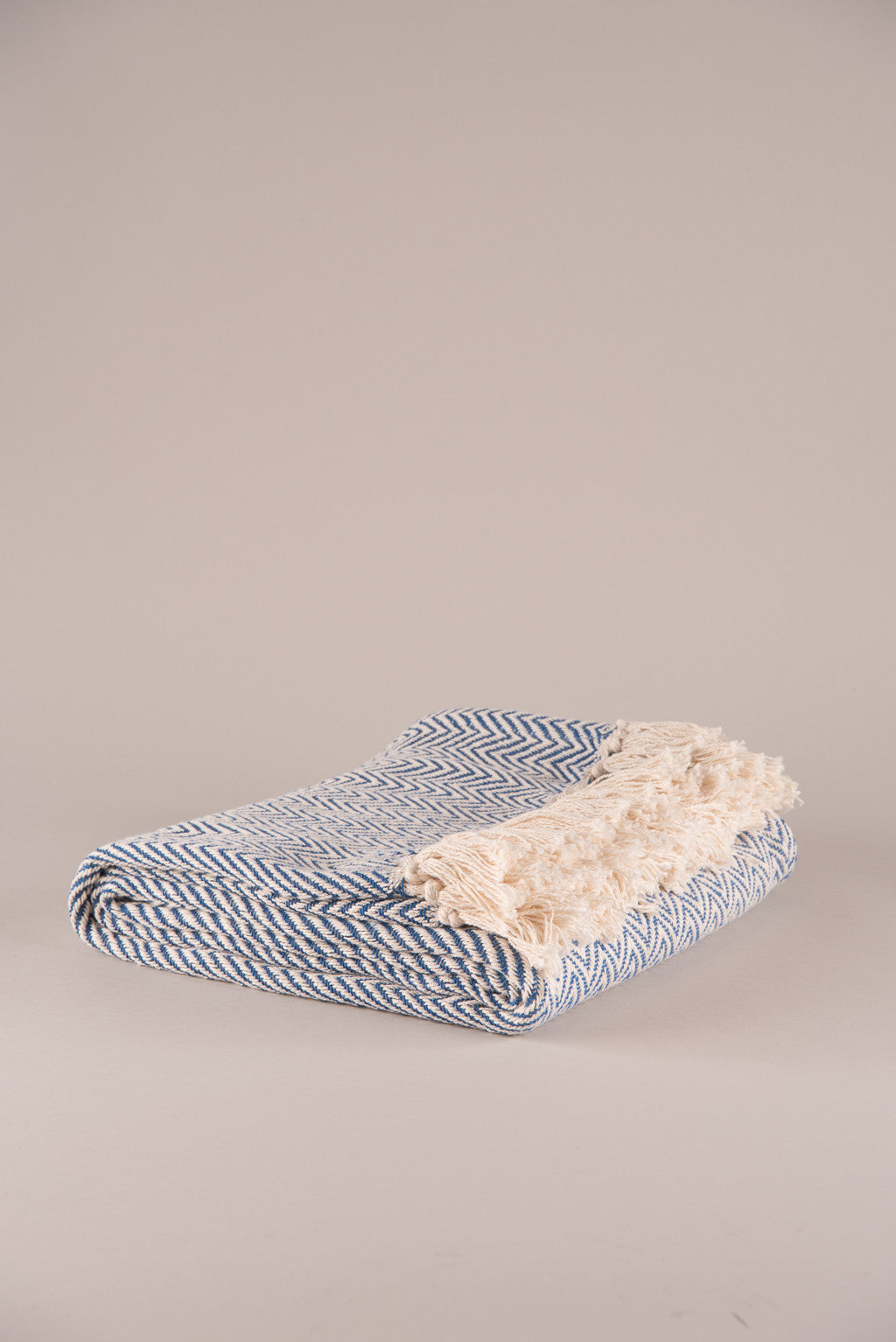 Blue Geometric Cotton Throw