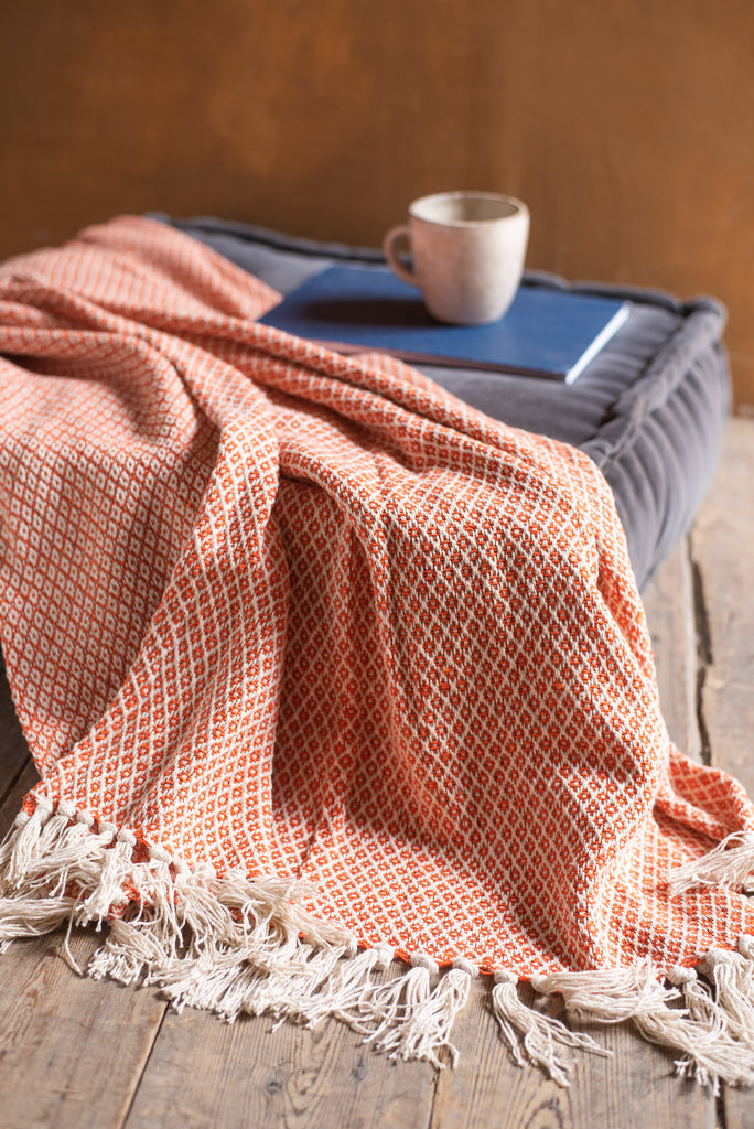 Orange Diamond Weave Cotton Throw