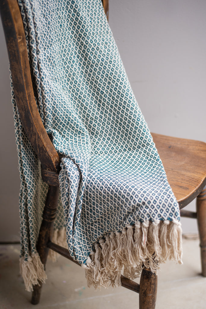 Jade Cotton Diamond Weave Throw