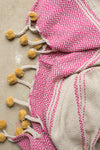 Pink & Yellow 100% Recycled Cotton Throw with Tassels and Pompoms