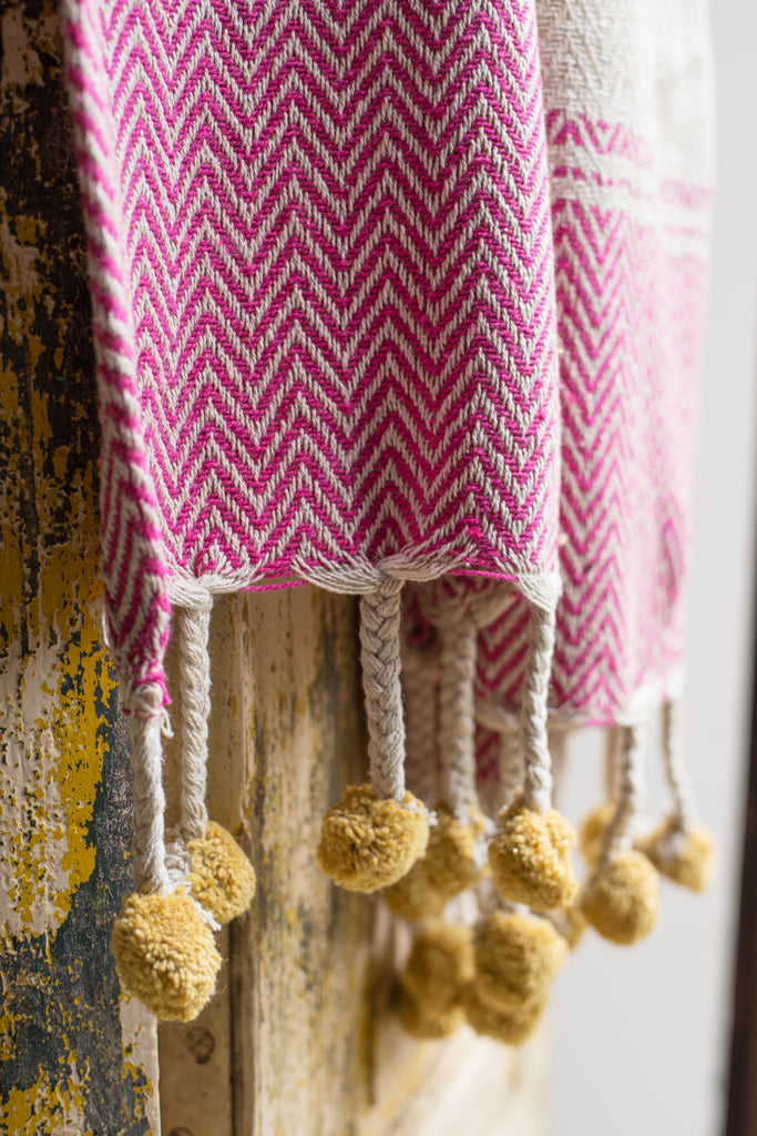 Pink & Yellow Cotton Throw with Tassels and Pompoms