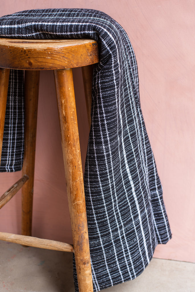 Black Heavy Woven Throw
