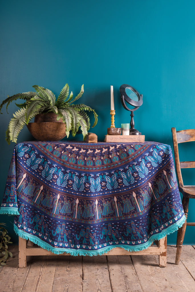 Blue Mandala Round Throw with Turquoise Tassle Trim