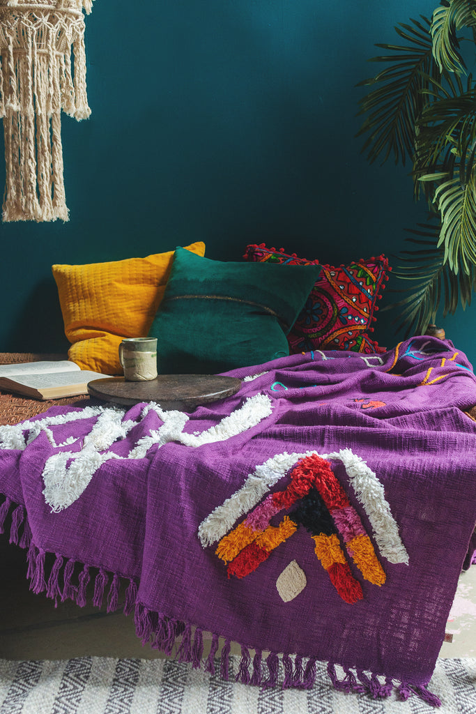 Mohe Purple Throw with Tufting and Embroidery