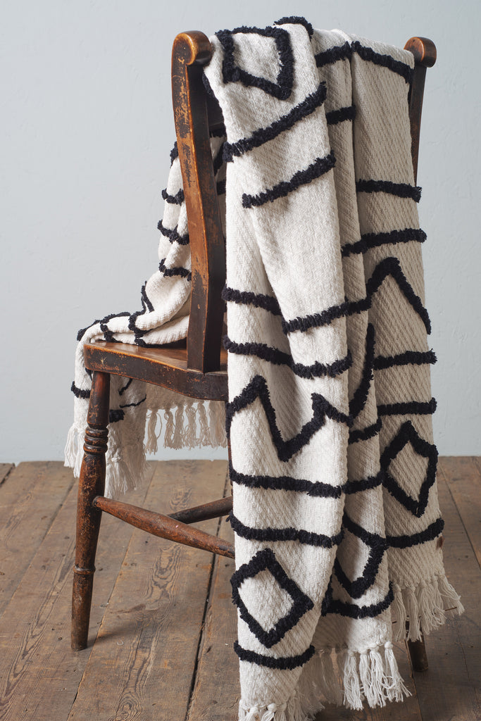 Zofie Black & White Cotton Tufted Woven Throw