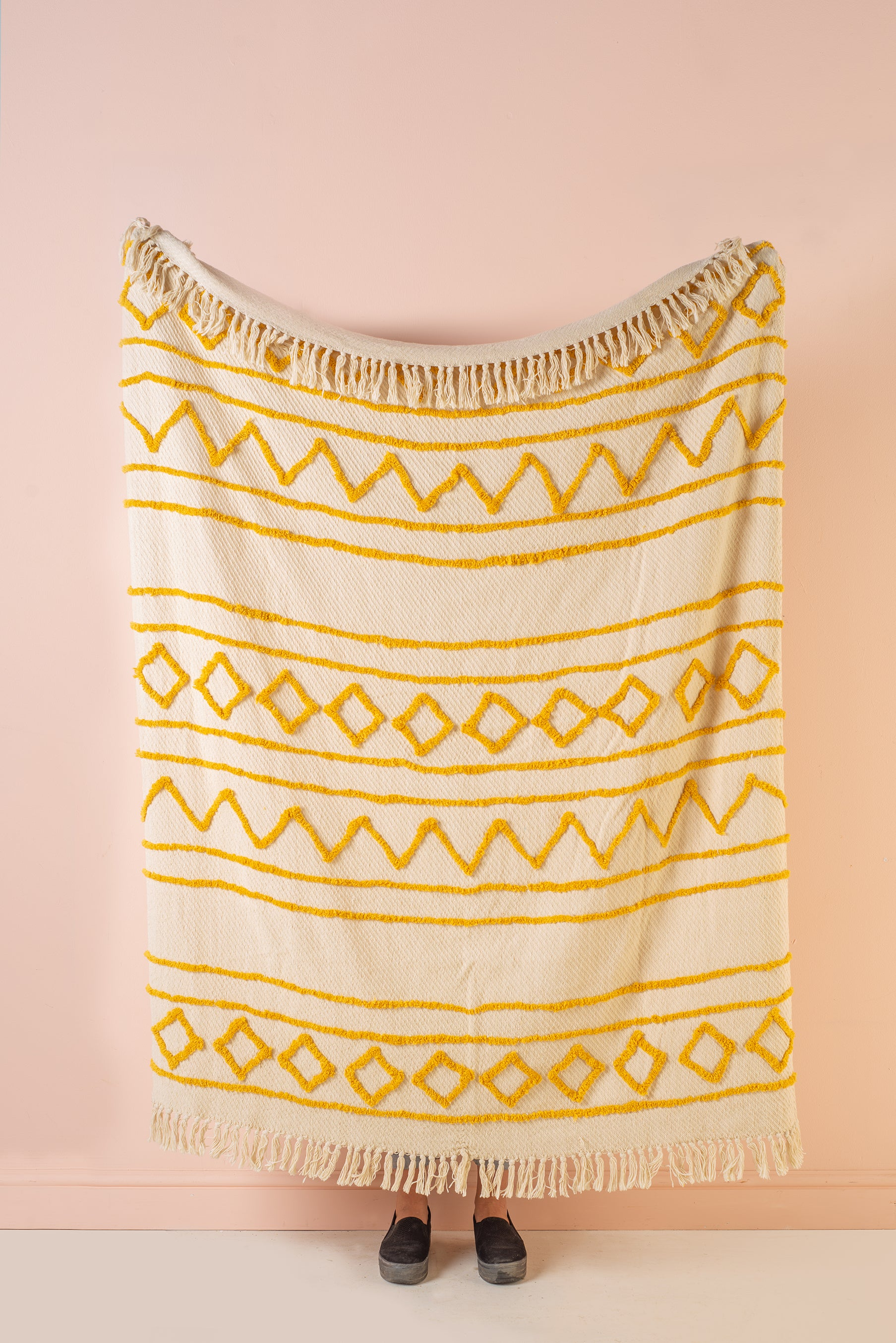 Zofie Natural & Mustard Cotton Tufted Woven Throw