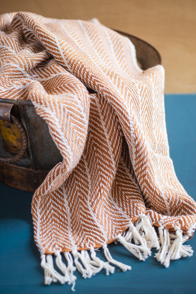Recycled Plastic Mustard Zig Zag Throw