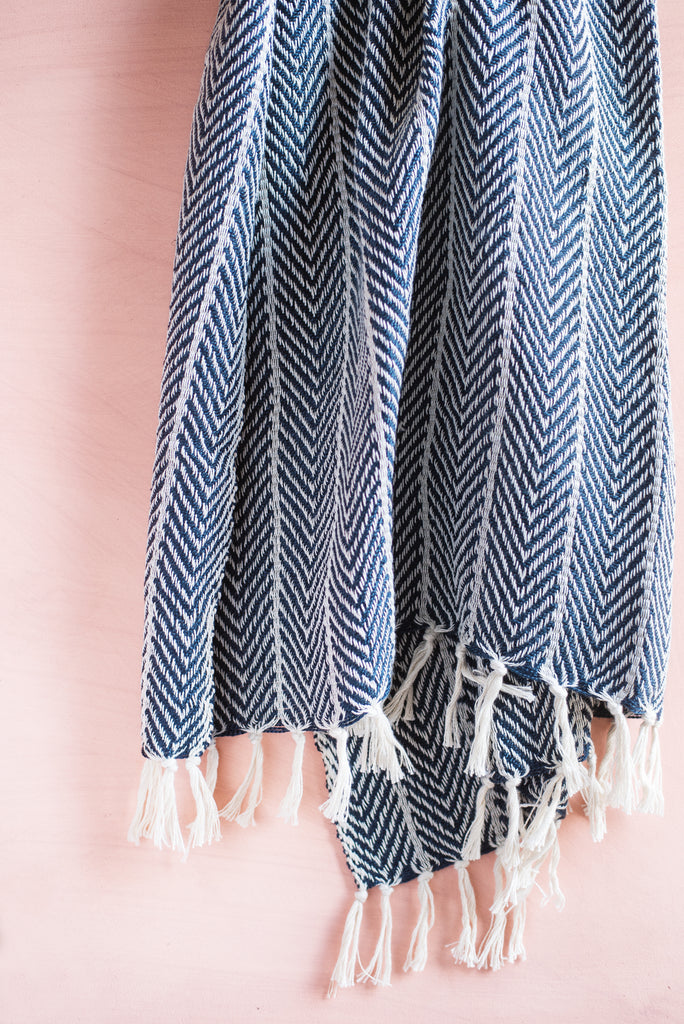 Recycled Plastic Navy Blue Zig Zag Throw