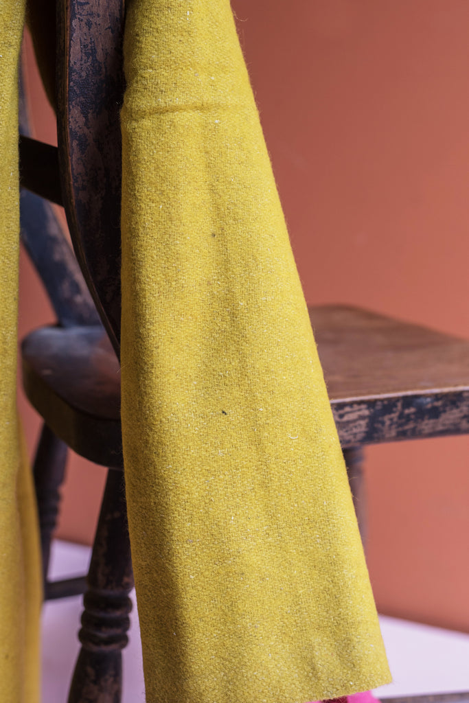 Yellow 100% Pre Consumer Waste Felt Throw with Pink Tassels