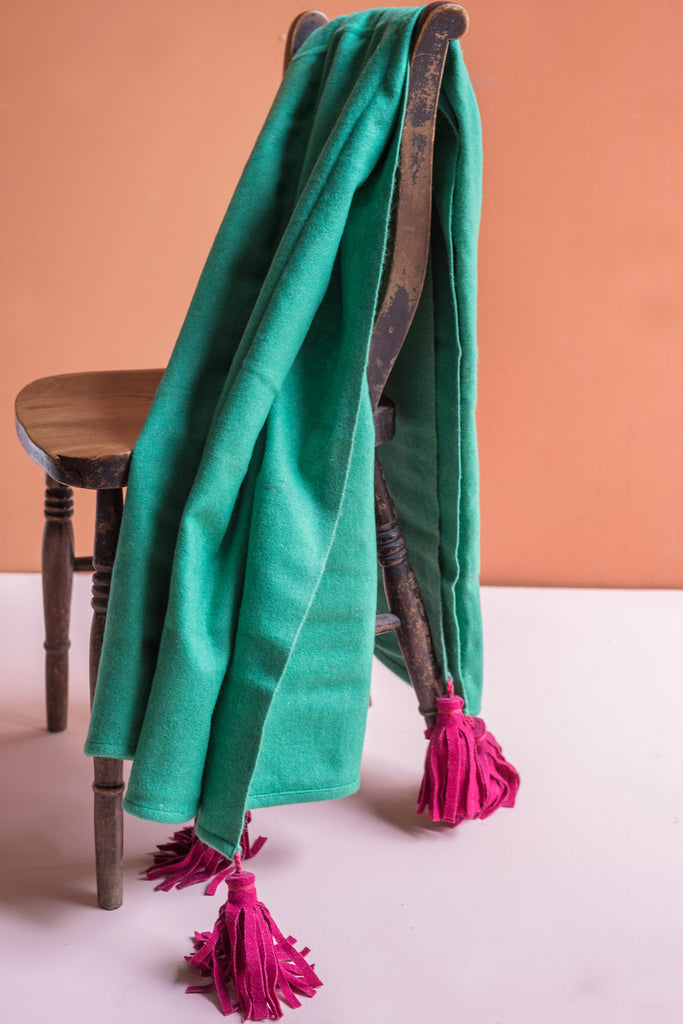Jade 100% Pre Consumer Waste Felt Throw with Hibiscus Tassels