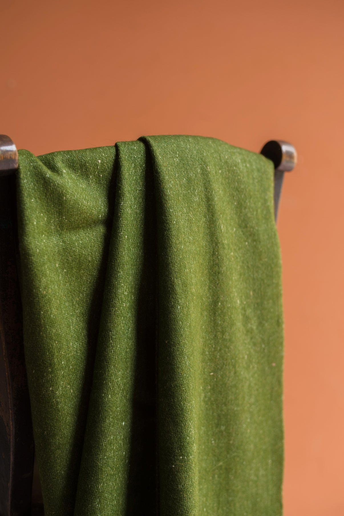 Olive Green 100% Pre Consumer Waste Felt Throw with Baby Pink Tassels
